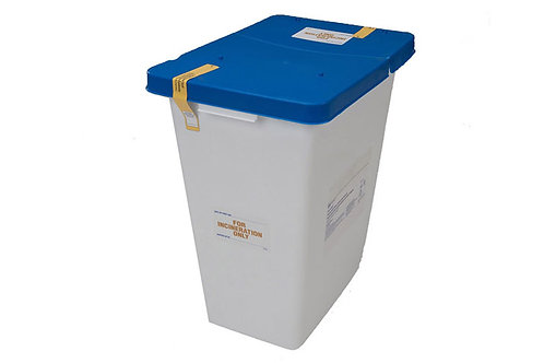 8 Gallon Pharmaceutical Disposable Container (Blue/White)