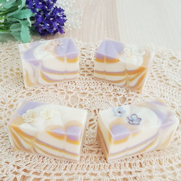 Dream a Little Dream art soaps with 3D sakura and orchid flower confetti on the top