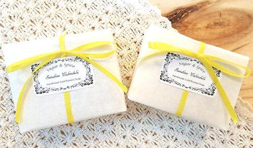 Sugar & Spice Sunshine Calendula Soap packaging (natural cold process handmade soaps)