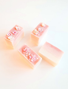 Student's 3D art soaps decorated with flower confetti