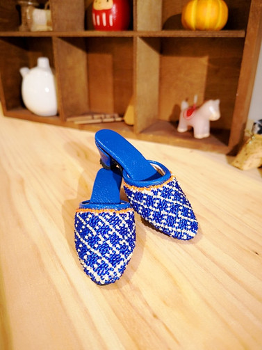 A pair of mini Peranakan beaded slipper (Kasut Manek) in blue handcrafted with colourful 15/0 Japanese beads