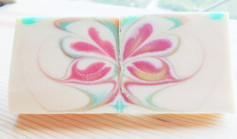 Butterfly art soaps designed with partition swirl technique