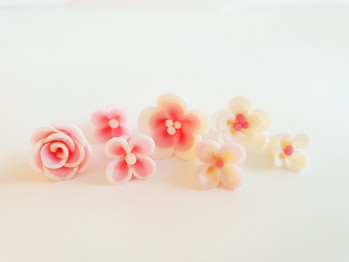Pink & white flower confetti made of cold process soap clay