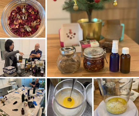 DIY skincare workshop at Sugar & Spice 2018-12-15. Making cleanser, toner, serum, lotion and balm from natural plant-based ingredients.