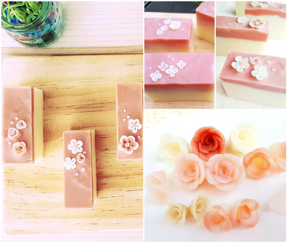 Sugar & Spice pink and white layer Japanese style stunning 3D art soaps decorated with rose and sakura (cherry blossom) flower confetti on top of the soaps