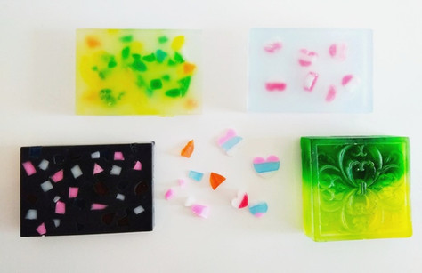 Melt & pour art soaps handcrafted with embedding and crystal colouring techniques