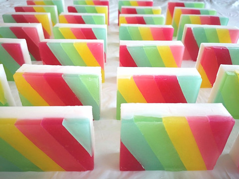 Rainbow striped soap handcrafted with layering technique