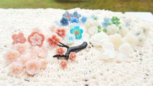 Flower confetti made from cold process soap clay