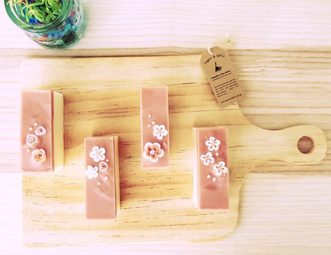 Secret Garden art soaps handcrafted with flower confetti and layering technique