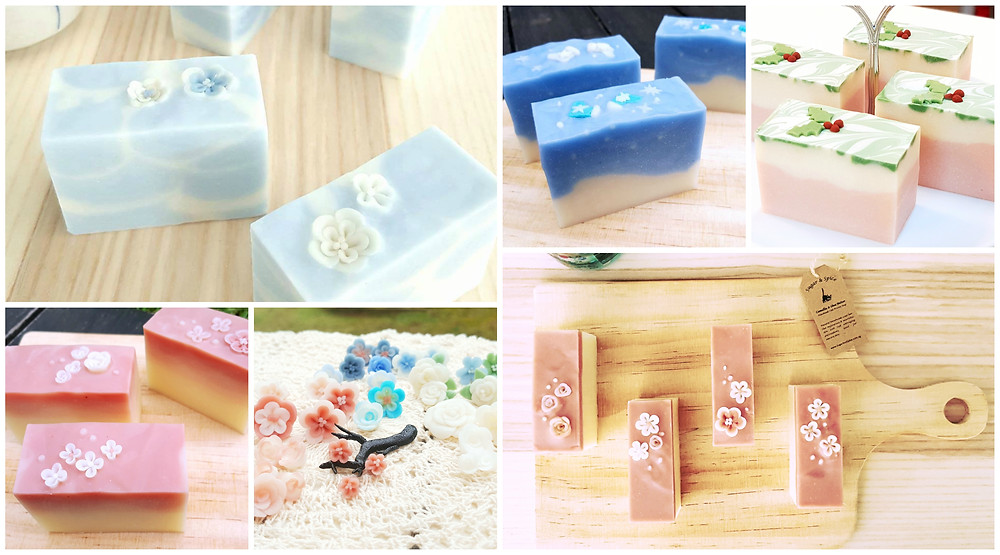 Stunning 3D soap art designed with flower confetti and miniatures made of soap clay
