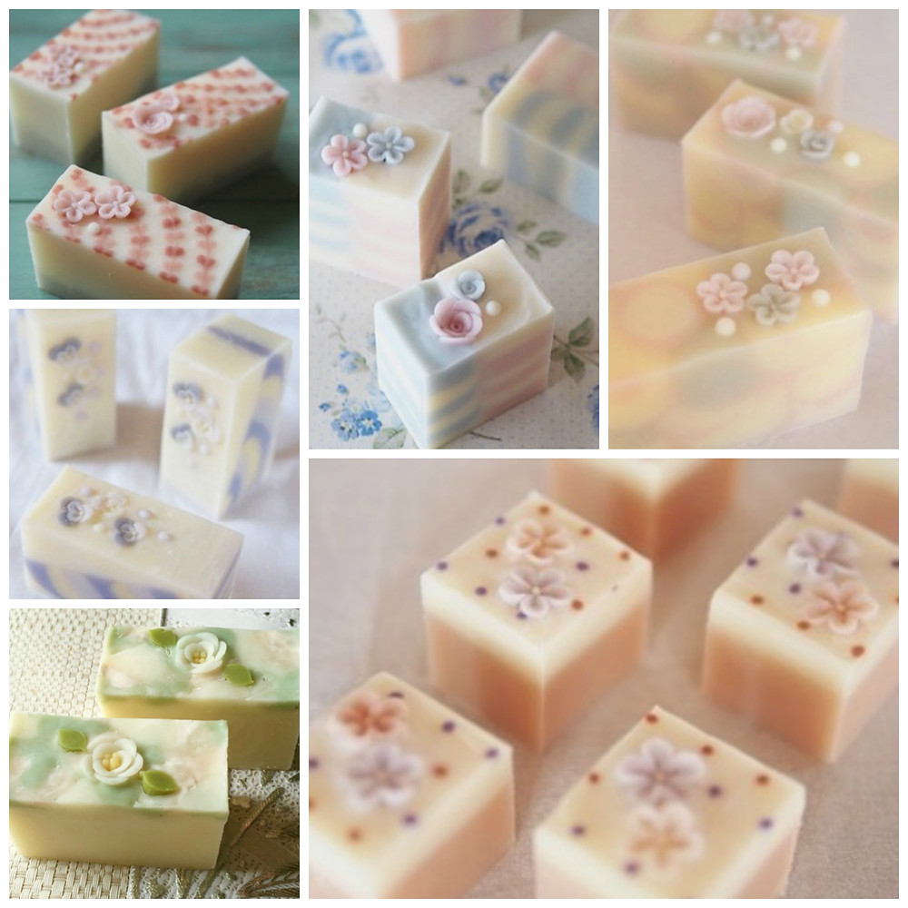 Delicate Japanese art soaps that look like small beautiful pieces of cake