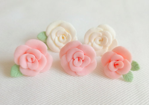 Pink and white camellia flower confetti with leaves made from cold process soap clay for 3D soap art design