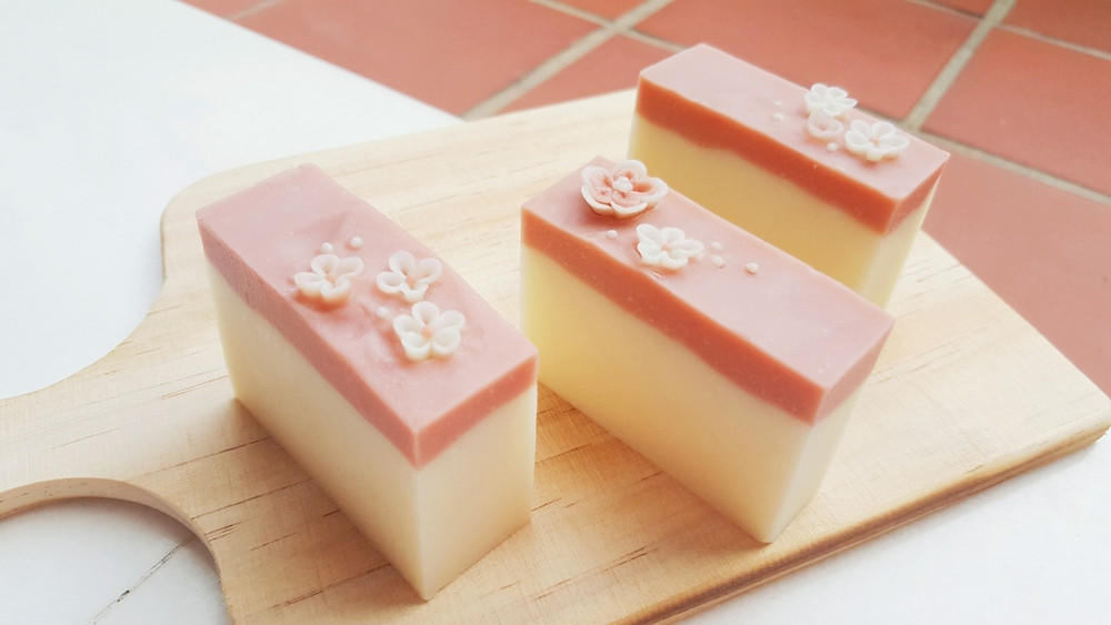 Stunning 3D soap art - Layering soaps decorated with intricate Japanese flower confetti made of cold process handmade soap
