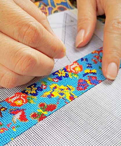 Intricate and colourful Peranakan beadwork in progress with English Butterflies motif using the finest 15/0 Czech faceted glass beads