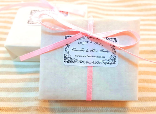 Sugar & Spice Camellia & Shea Butter Soap with packaging (natural cold process handmade soaps)