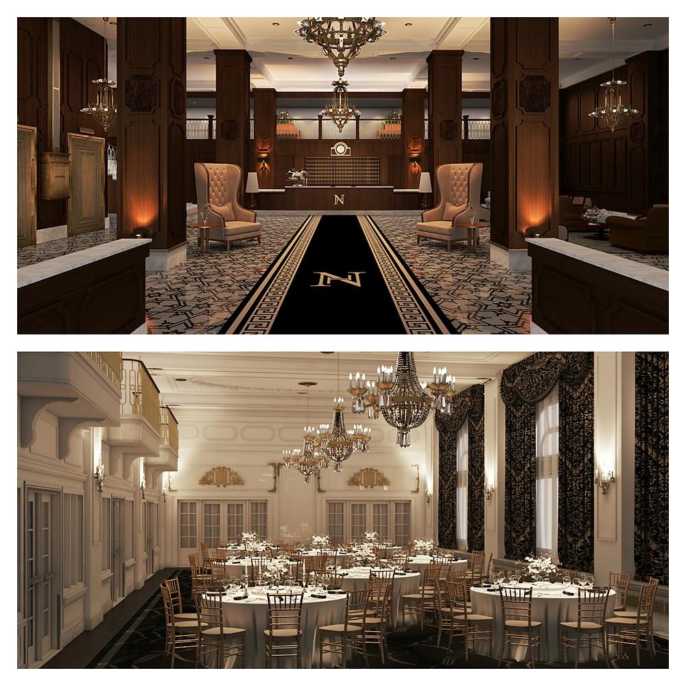 Hotel Northland Main Lobby and Crystal Ballroom