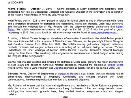 FOR IMMEDIATE RELEASE:  Guru Of Luxury Yvonne Roberts Announces Hotel Retlaw Renovation Project In W
