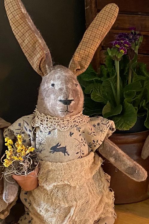 Primitive folk Art Bunny with Flowers