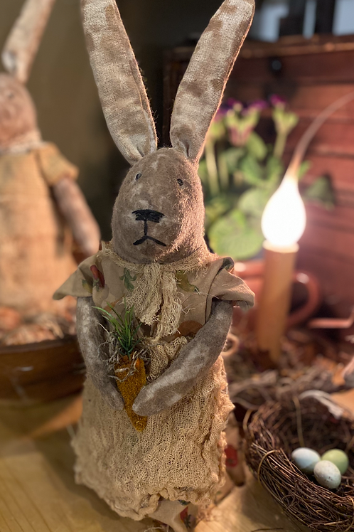 Primitive folk Art Bunny with Carrot