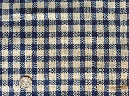 Navy & Cream Gingham Fabric