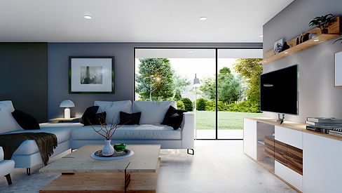 Contemporary Living Room Space with View