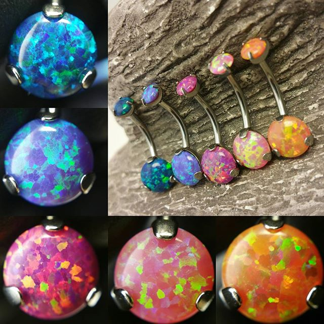 New opal navel jewelry we just got in!_Photos by_ _generalhersheys_#opal #titanium #colorful  #impla