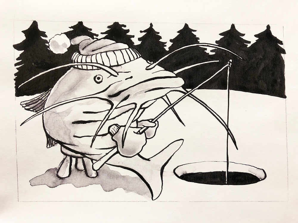 a picture of a fish ice fishing
