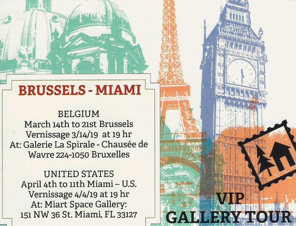 Exposición colectiva realizada en dos ciudades: Bruselas y Miami.