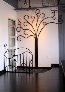 Interior Tree and Railing