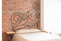 Scrolled Headboard with Side Tables
