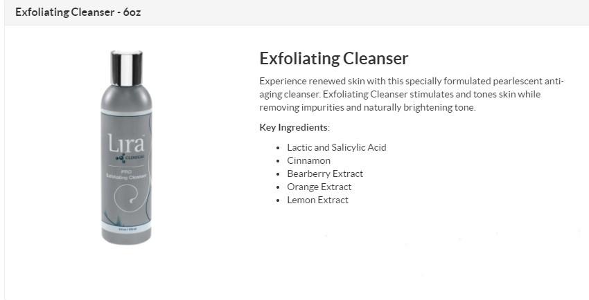 Lira - Exfoliating Cleanser $27 (plus Tax)