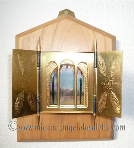 3-Dimensional Gold Plated Triptych Box Painting (No2)