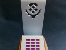 Top Winner's trophy (1 of 6) awarded to Asset Management. Designed for the 1990 Scottish Computer User of the Year Awards, SECC Glasgow