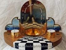 Spiritualist font with tealights and incense holders