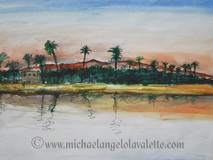 The Nile, Luxor, painted on location