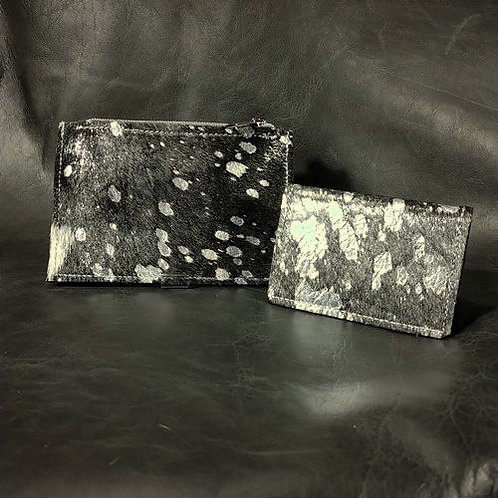Coin and Card Holder- Black and Silver Acid