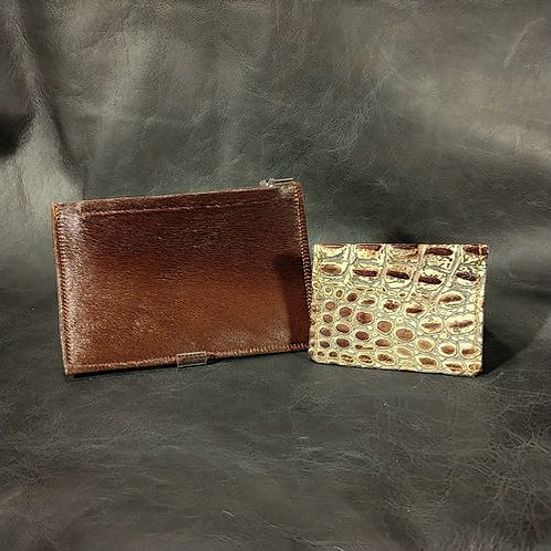 Coin and Card Holder -Dark Brown & Croco