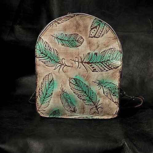 Backpack - Turquoise Feathers