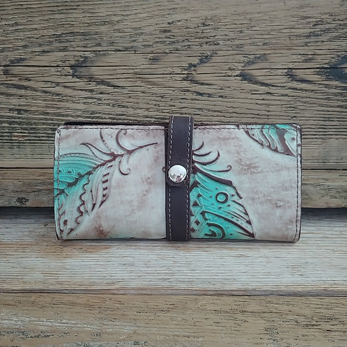 Turquoise Feathers Wallet