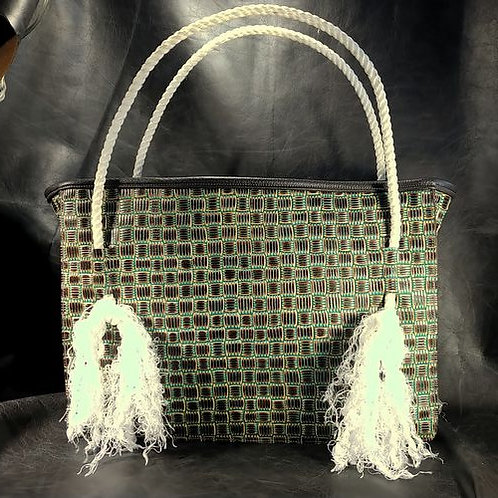 Rope Bag - Basket Weave Turquoise
