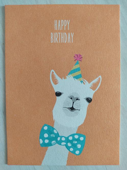"""Alpaka-Postkarte """"Happy Birthday"""""""
