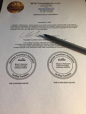 Certified translations by certified translators