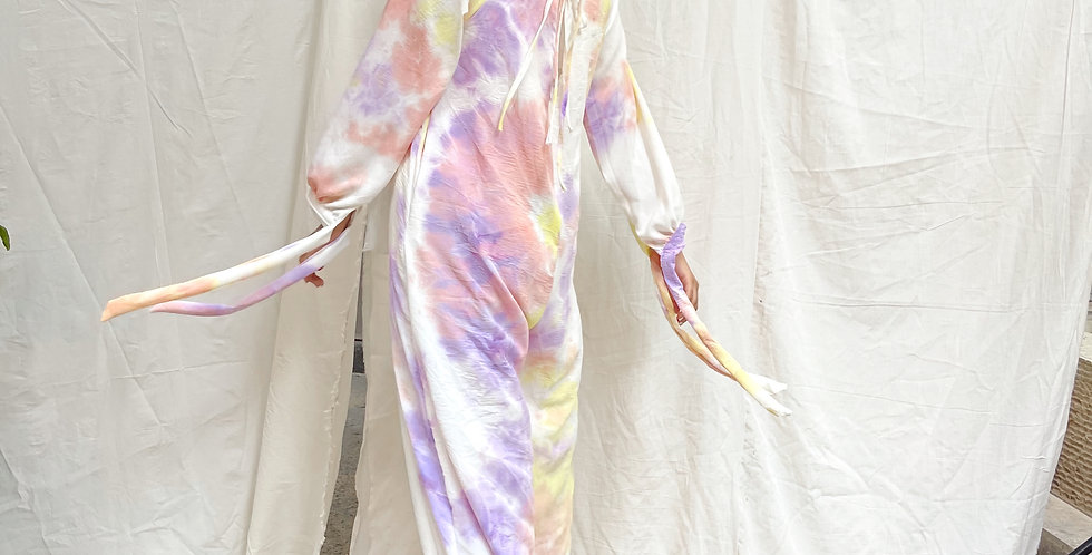 Tie Dye Jumpsuit blend of lilac, pink & yellow