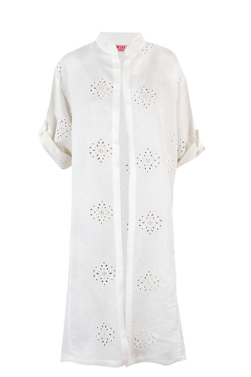 Embroidered white kimono