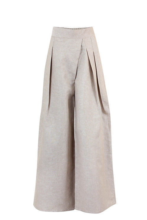 Beige Shifted Midline Pants