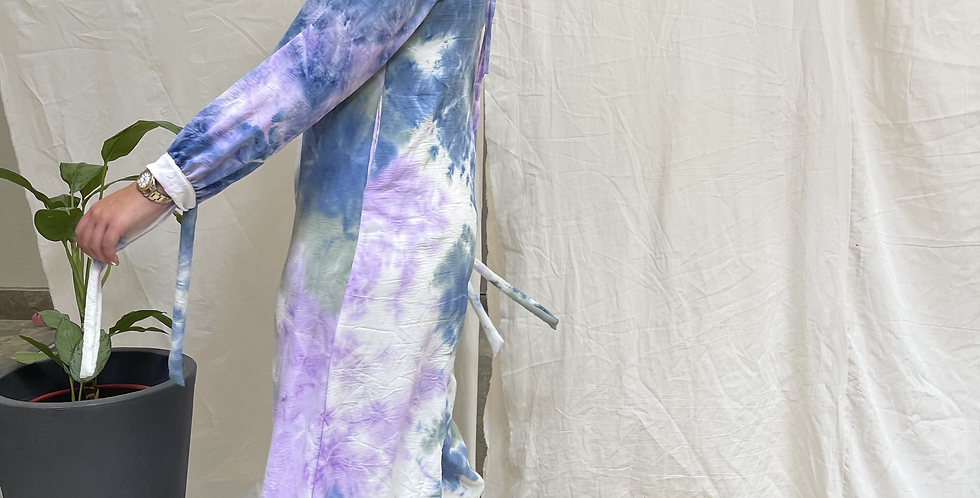 Tie Dye Jumpsuit blend of blue, mint & purple