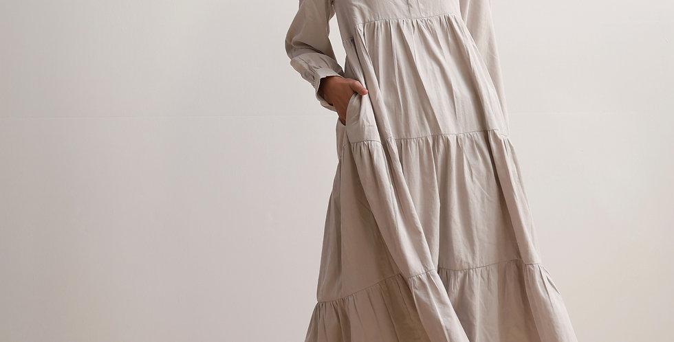 Gathering Dress in Grey