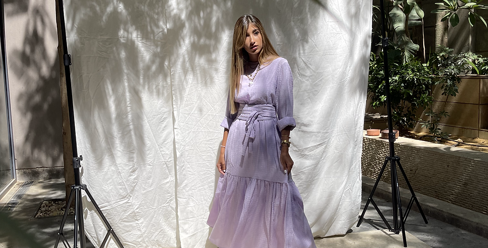 Lilac Crushed Flowy Dress