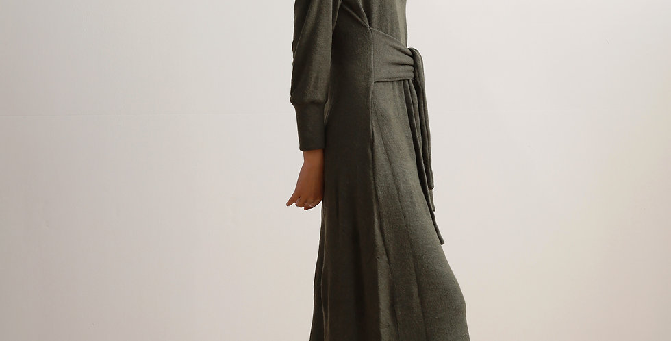 Tie Wrap Dress In Olive
