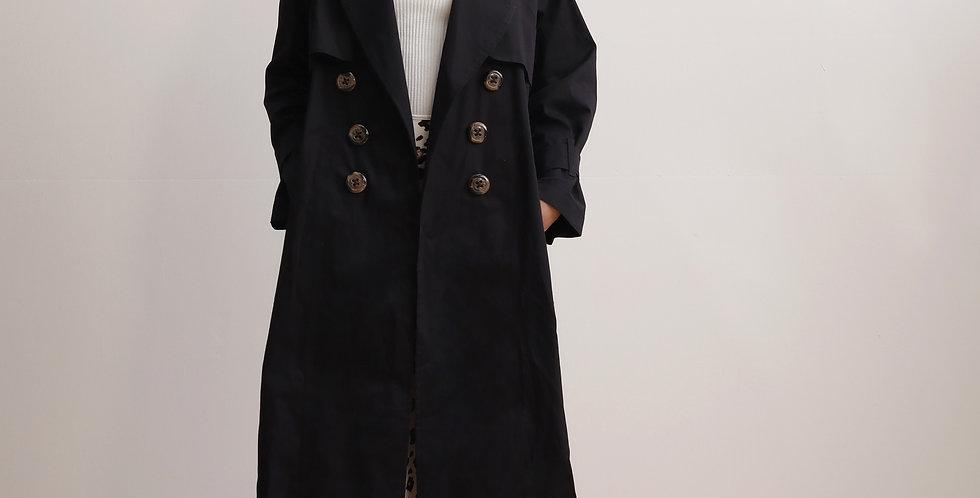 Long Trench Coat in Black